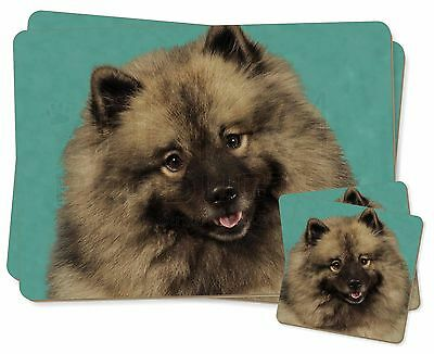 Keeshond Dog Twin 2x Placemats+2x Coasters Set in Gift Box, AD-KEE1PC