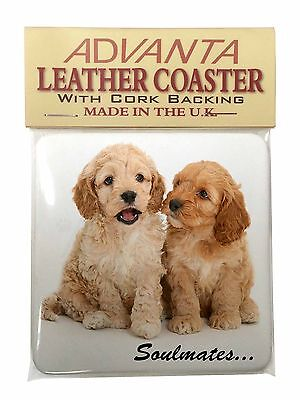 Cockerpoodle Puppy Dogs 'Soulmates' Single Leather Photo Coaster Anim, SOUL-27SC