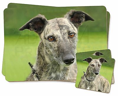 Lurcher Dog Twin 2x Placemats+2x Coasters Set in Gift Box, AD-LU7PC