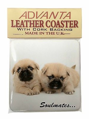 Pugzu Puppy Dogs 'Soulmates' Single Leather Photo Coaster Animal Bree, SOUL-42SC