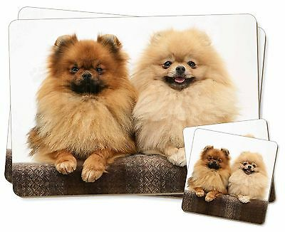 Pomeranian Dogs Twin 2x Placemats+2x Coasters Set in Gift Box, AD-PO91PC