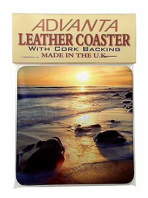 Secluded Sunset Beach Single Leather Photo Coaster Animal Breed Gift, SUN-1SC