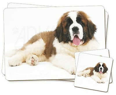 St Bernard Dog Twin 2x Placemats+2x Coasters Set in Gift Box, AD-SBE5PC