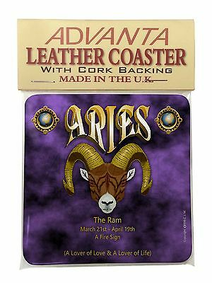 Aries Astrology Star Sign Birthday Gift Single Leather Photo Coaster An, ZOD-1SC