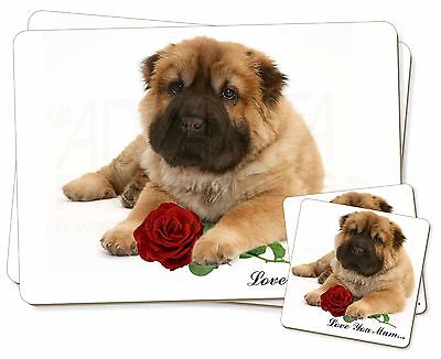 Shar-Pei+Rose 'Love You Mum' Twin 2x Placemats+2x Coasters Set in , AD-SH2RlymPC