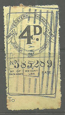 4D North Eastern Railway Parcel Stamp Cancelled Boxed Durham 1910 In Violet