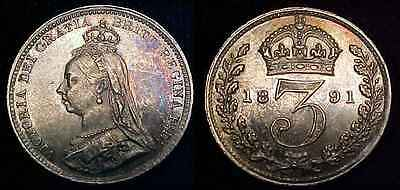 GREAT BRITAIN 1891 Silver Threepence