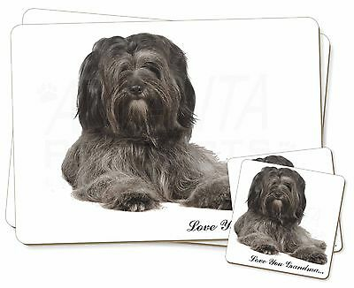 Tibetan Terrier 'Love You Grandma' Twin 2x Placemats+2x Coasters Se, AD-TT2lygPC