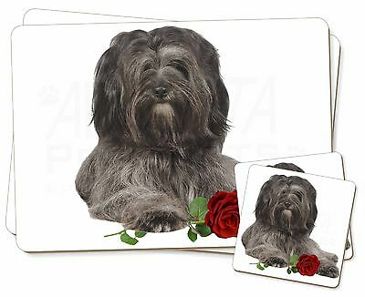 Tibetan Terrier with Red Rose Twin 2x Placemats+2x Coasters Set in Gi, AD-TT2RPC