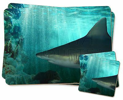 Shark Photo Twin 2x Placemats+2x Coasters Set in Gift Box, AF-SHA1PC