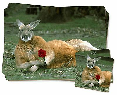 Kangaroo with Red Rose Twin 2x Placemats+2x Coasters Set in Gift Box, AK-1RPC