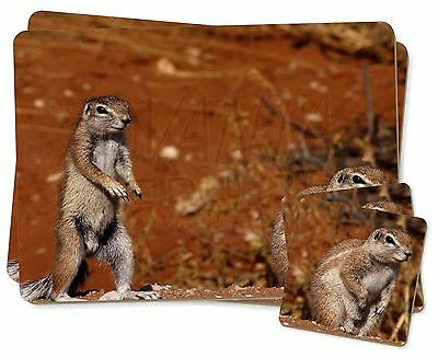 AMK-5PC Meerkat Twin 2x Placemats+2x Coasters Set in Gift Box