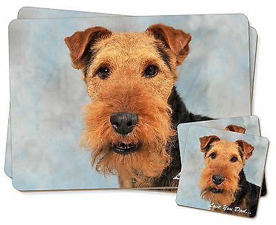 Welsh Terrier Dog 'Love You Dad' Twin 2x Placemats+2x Coasters Set in, DAD-136PC