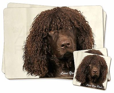 Irish Water Spaniel 'Love You Dad' Twin 2x Placemats+2x Coasters Set i, DAD-59PC