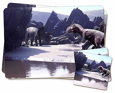 Dinosaur Print Twin 2x Placemats+2x Coasters Set in Gift Box, DIN-1PC