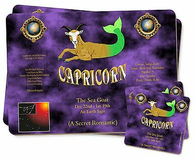 Capricorn Star Sign Birthday Gift Twin 2x Placemats+2x Coasters Set in, ZOD-10PC
