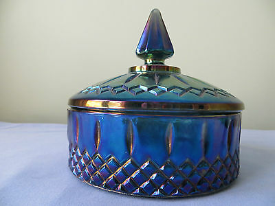 Vintage Iridescent Blue Indiana  Carnival Glass Candy Dish