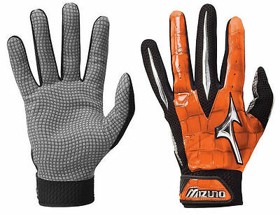Mizuno Swagger Orange Small Adult Mens Baseball/Softball Batting Gloves Pair