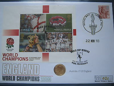 2003 Gold Britannia £10 With Rugby World Cup Win First Day Cover