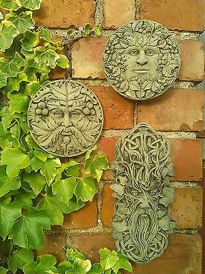 Stone Garden Set Of 3 Green Man Wall Plaques