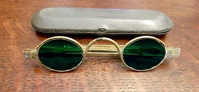 Antique 1860s Oval GREEN Lens Metal Glasses Spectacles Telescoping Sides w/Case