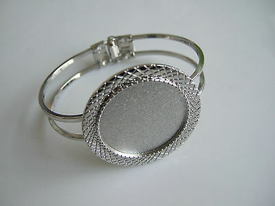 Silver Tone Bangle Cuff Bracelet Blanks Bezel 30mm Round Cameo/Cabochon Setting