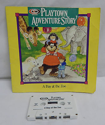 A Day At The Zoo Read Along Book With Cassette Tape Playtown Adventure Story A&w