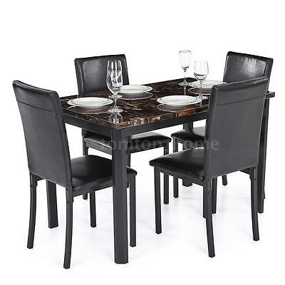 Modern Marble-like Top Kitchen Rectangle Dining Table Set With 4 Leather Chairs