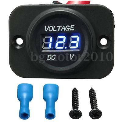 Waterproof Car Motorcycle Blue LED DC Digital Display Voltmeter Meter 12V 24V US