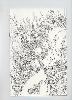 CHAOS CROSSOVER # 5 -LADY DEATH/WITCHBLADE - SKETCH-VARIANT - *signiert* ROMANO