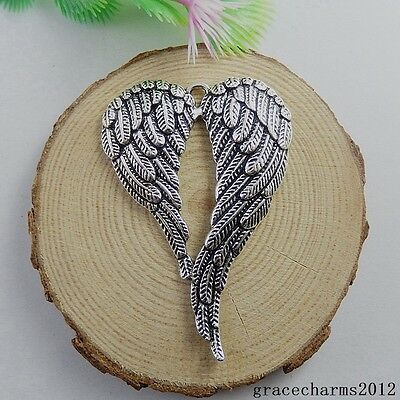 4pcs Antiqued Silver Tone Alloy Heart Shape Wing Jewelry Charms Pendant 51158