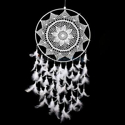 Large Size White Handmade Dream Catcher With Feathers Wall Hanging Ornament New