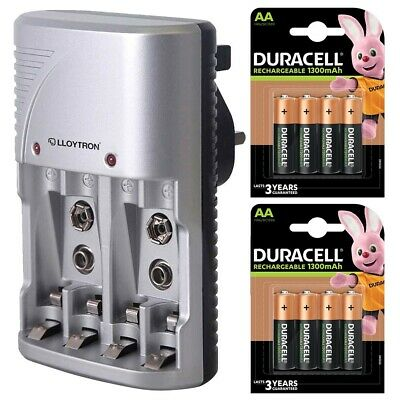 Lloytron AA and AAA Battery Charger with 8x Duracell AA Rechargeable Batteries