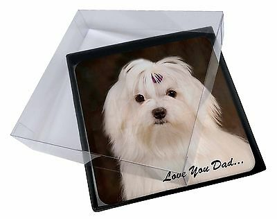 4x Maltese Dog 'Love You Dad' Picture Table Coasters Set in Gift Box, DAD-77C