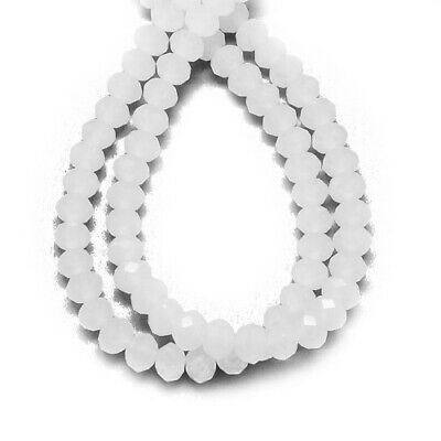 95+ White Czech Crystal Opaque Glass 4 x 6mm Faceted Rondelle Beads HA20745