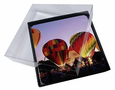 4x Hot Air Balloons at Night Picture Table Coasters Set in Gift Box, SPO-B2C