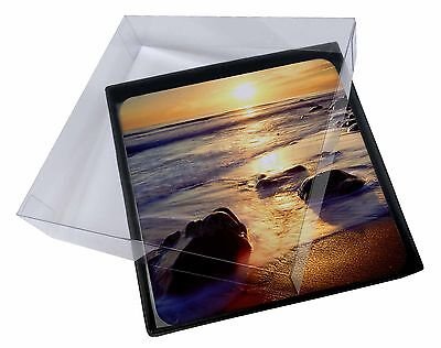 4x Secluded Sunset Beach Picture Table Coasters Set in Gift Box, SUN-1C