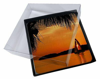 4x Sunset Sailing Yacht Picture Table Coasters Set in Gift Box, SUN-2C