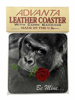 'Be Mine' Gorilla with Red Rose Single Leather Photo Coaster Animal Br, AM-10RSC