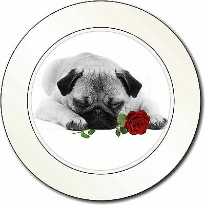 Pug (B+W Photo) with Red Rose Car/Van Permit Holder/Tax Disc Gift, AD-P92R2T