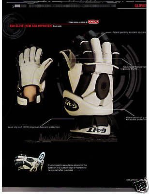 "New Gait Debeer box lacrosse lax gloves sz 14"" men black sr indoor black white"