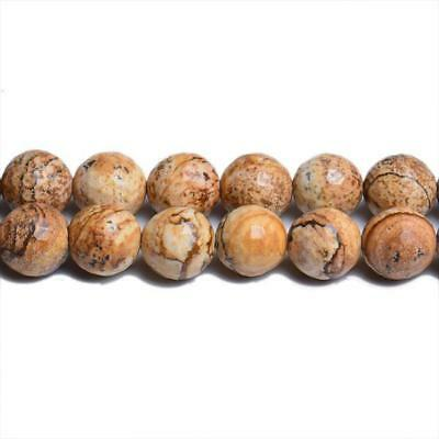 Strand Of 62+ Beige Picture Jasper 6mm Faceted Round Beads CB31114-2