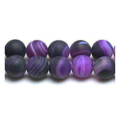Strand Of 38+ Purple Frosted Banded Agate 10mm Plain Round Beads GS17101-2