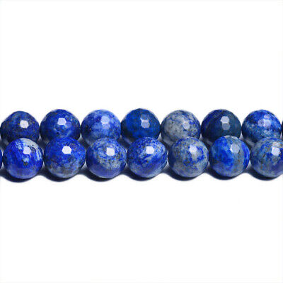 Strand Of 45+ Blue Denim Lapis Lazuli 8mm Faceted Round Beads CB31095-3
