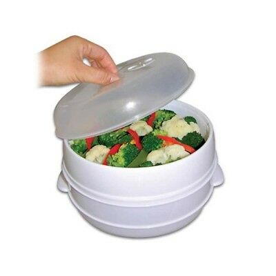 Fast Food Cooker Two Tier Microwave Steamer Healthy Meals Kitchen Cookware Steam