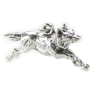 Wolf Running sterling silver charm .925 x 1 Wolves and Wolfs charms SSLP4744