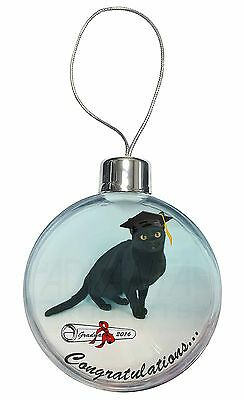 Graduation Black Cat 'Congratulations 2016' Christmas Tree Bauble Deco, GRAD-5CB