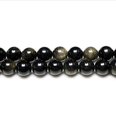 Strand Of 62+ Black/Golden Rainbow Obsidian 6mm Plain Round Beads GS2886-2
