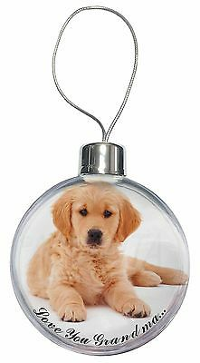 Golden Retriever Pup 'Love You Grandma' Christmas Tree Bauble Deco, AD-GR54lygCB