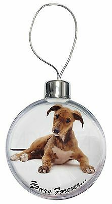Lurcher Dog 'Yours Forever'  Christmas Tree Bauble Decoration Gift, AD-LU4CB